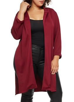 Plus Size Crepe Knit Slit Side Blazer - BURGUNDY - 3932062703105