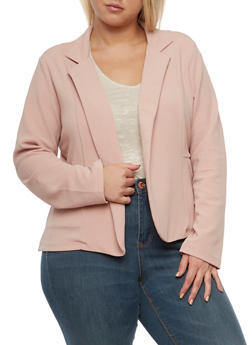 Plus Size Crepe Knit Blazer with Pockets - 3932062704012