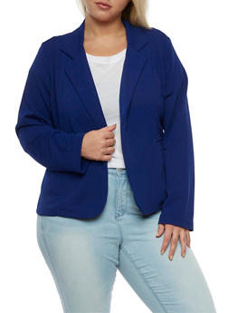Plus Size Crepe Knit Blazer with Pockets - ROYAL - 3932062704012