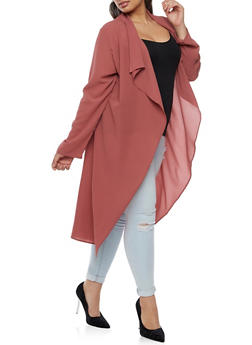 Plus Size Crepe Knit Belted Duster - 3932062709854