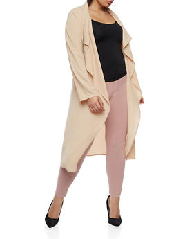 Plus Size Crepe Knit Belted Duster - NUDE - 3932062709854