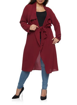 Plus Size Crepe Knit Belted Duster - BURGUNDY - 3932062709854