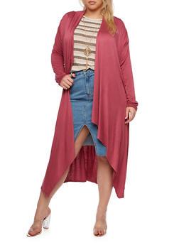 Plus Size Long Cardigan - 3932066493098