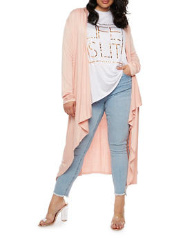 Plus Size Long Cardigan - 3932066493098