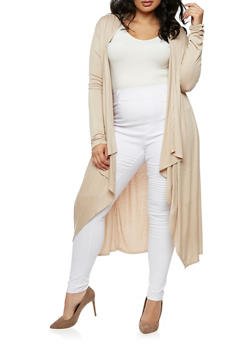 Plus Size Long Cardigan - LATTE - 3932066493098