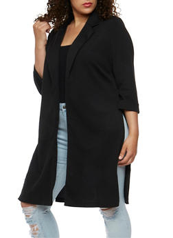 Plus Size Duster Blazer with Split Sides - 3932068513458