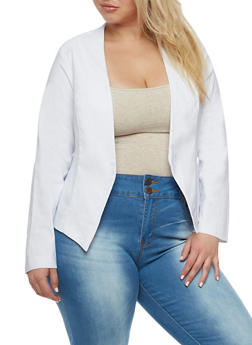 Plus Size Open Front Asymmetrical Blazer - 3932068513581