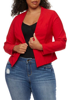 Plus Size Solid Textured Knit Blazer - 3932068513585