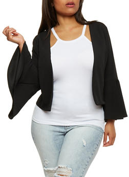 Plus Size Bell Sleeve Cropped Blazer - 3932068513636