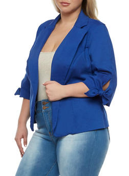 Plus Size Open Front Blazer with Tie Sleeves - 3932068514015