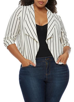 Plus Size Striped Blazer - 3932069392502