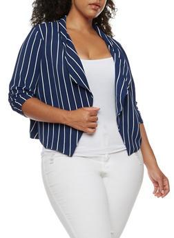 Plus Size Striped Blazer - 3932069392502