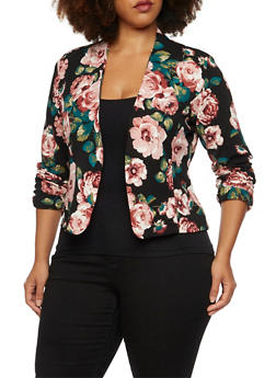 Plus Size Floral Blazer with Open Front - 3932070470115