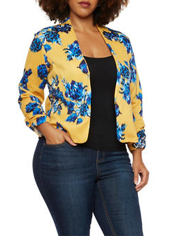 Plus Size Floral Blazer with Open Front - MUSTARD - 3932070470115