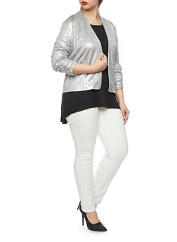 Plus Size Metallic Knit Blazer with Ruched Sleeves - 3932070470555