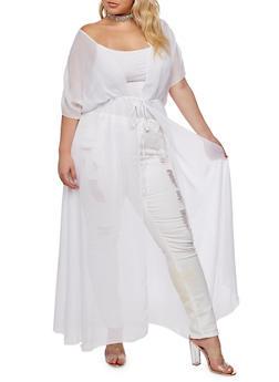 Plus Size Sheer Maxi Duster - WHITE - 3932072246324