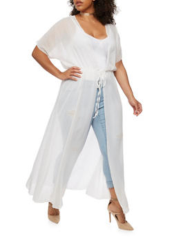 Plus Size Sheer Maxi Duster - 3932072246324