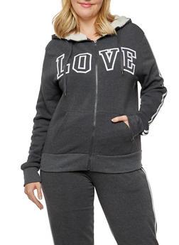 Plus Size Love Graphic Zip Up Sherpa Hooded Sweatshirt - 3932072291691