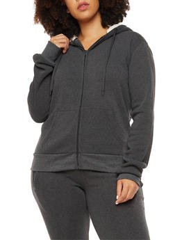 Plus Size Zip Front Sweatshirt with Faux Fur Lined Hood - 3932072291761
