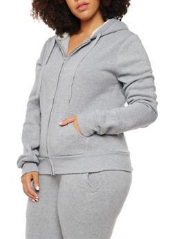 Plus Size Zip Front Sweatshirt with Faux Fur Lined Hood - 3932072291761