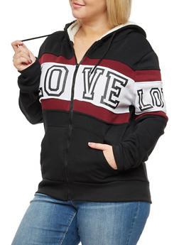 Plus Size Love Graphic Zip Up Sherpa Hoodie - 3932072292111