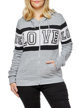 Plus Size Love Graphic Zip Up Sherpa Hooded Sweatshirt - 3932072292111
