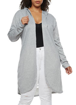 Plus Size Slashed Back Hooded Duster - 3932072299604
