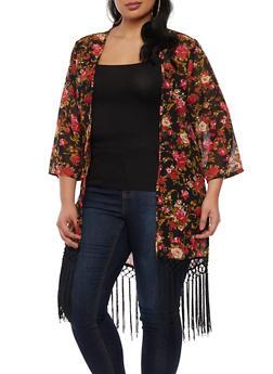 Plus Size Floral Fringe Kimono - 3932074151046