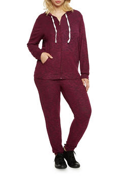 Plus Size Zip Front Hoodie in Plush Knit - 3951001440098