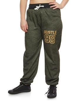 Plus Size Hustle Graphic Sweatpants - 3951038342733