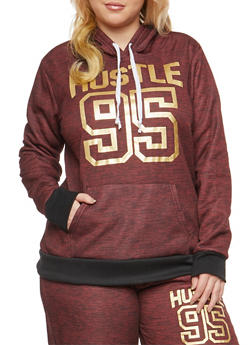 Plus Size Hustle Graphic Hooded Sweatshirt - 3951038342734
