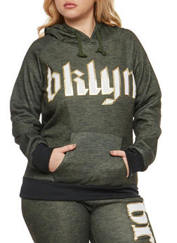 Plus Size Bklyn Graphic Hooded Sweatshirt - 3951038342735