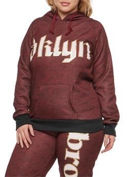 Plus Size Bklyn Graphic Hooded Sweatshirt - 3951038342735