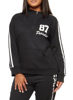 Plus Size Half Zip Paradise Graphic Sweatshirt - BLACK/WHITE - 3951038342746