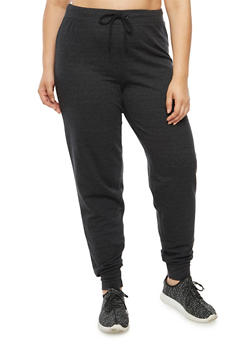 Plus Size Solid French Terry Jogger Pant - 3951038342748