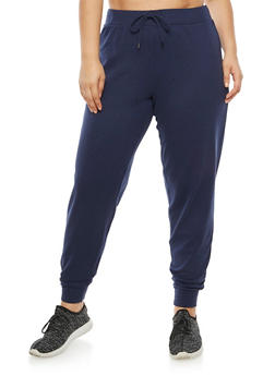 Plus Size Solid French Terry Sweatpants - 3951038342748