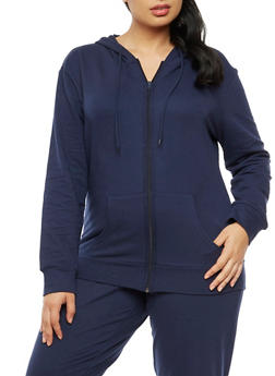 Plus Size Zip Front Hooded Top - 3951038342749