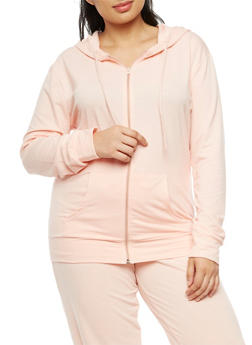 Plus Size Zip Front Hooded Sweatshirt - 3951038342749
