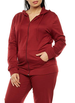 Plus Size Zip Front Hooded Top - BURGUNDY - 3951038342749