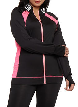 Plus Size Mind Over Matter Graphic Zip Up Top - 3951038347708