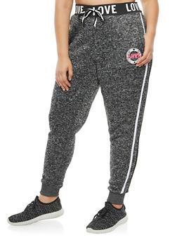 Plus Size Love Varsity Stripe Jogger Pants - 3951051063473