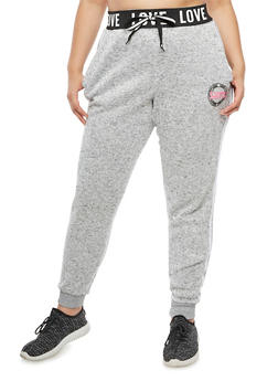 Plus Size Love Varsity Stripe Jogger Pants - 3951051063473