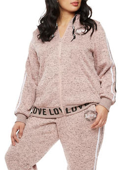 Plus Size Long Sleeve Love Graphic Hooded Top - 3951051065639