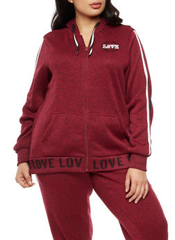 Plus Size Long Sleeve Love Graphic Hooded Top - BURGUNDY - 3951051065639