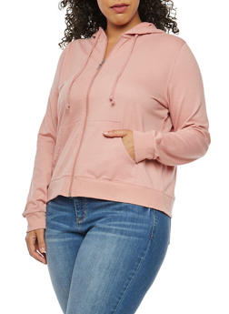 Plus Size Solid Zip Front Hooded Sweatshirt - 3951054260262