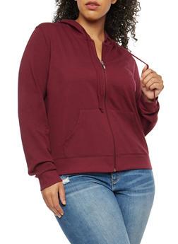 Plus Size Solid Zip Front Hooded Sweatshirt - 3951054260262