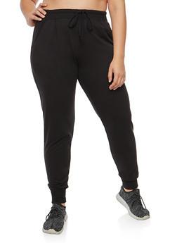 Plus Size Basic Solid Sweatpants - 3951054260263