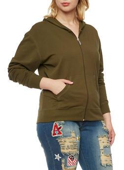 Plus Size Zip Up Hoodie - 3951054265401