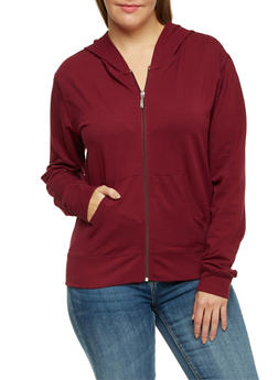 Plus Size Zip Up Hoodie - 3951054265401