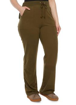 Plus Size Knit Sweatpants - OLIVE - 3951054265421